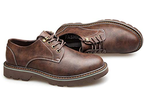 para De Boots Redonda Brown Cuero Inglaterra Zapatos para Casual Big De Shiney De Cabeza 2018 Botas Cuero Martin Hombre Zapatos Cuero Head A5IRnxqx1W