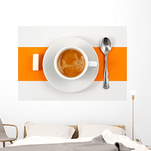 Wallmonkeys Cafà Crème Sur Fond Orange Et Blanc Wall Decal Peel and Stick Graphic WM153236 (60 in W x 41 in H) (Jumbo Porcelain Cup)