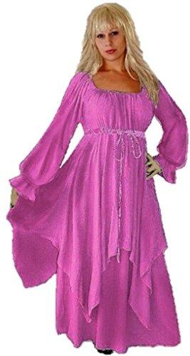[Lotustraders Peasant Renaissance Dress Layered Stunning Ladies Fashion Pink Medium C3040] (Pink Renaissance Dress)