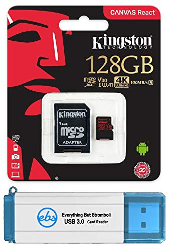 (Kingston 128GB SDXC Micro Canvas React Memory Card and Adapter Bundle Works with GoPro Hero 7 Black, Silver, Hero7 White Camera (SDCR/128GB) Plus 1 Everything But Stromboli (TM) 3.0 TF/SD Card Reader)