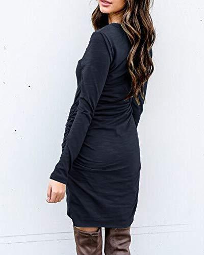 Pencil Ruched Z Neck Valphsio Dresses Mini Long Bodycon Short black Womens Sleeve Crew Dresses w7q8I7