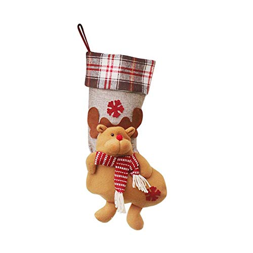 1Pc Cute Christmas Socks Gift Bags Decoration Pendant Santa Clause Snowman Elk Doll Hanging Ornaments Decoration for Home ELK