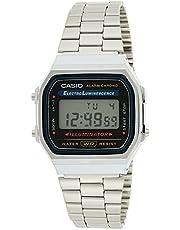 """ساعة رقمية لكلا الجنسين من """"كاسيو"""" بمينا لون اسود، بسوار من الستانلس ستيل - A168WA-1UWD"""