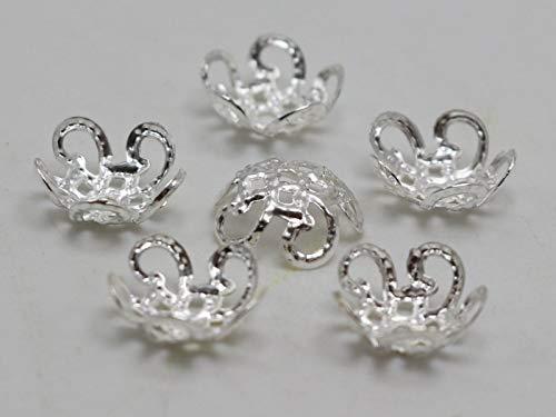 (FidgetFidget 500 Silver Filigree 5-Petals Flower Bead Caps 10mm Fit 10-12mm Bead Jewelry Find)