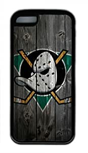 Anaheim Ducks Wood Iphone 5C Black Sides Rubber Shell Case by eeMuse