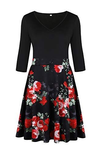 Waist Floral Women's Party Howme Fit Collar Notch Flexible Mini Black Club Dress qRtCCw5
