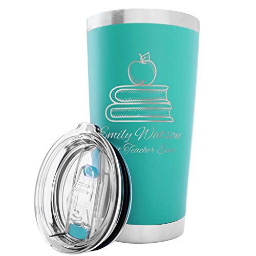 Personalized Double-Wall Vacuum Insulated Travel Tumblers | Create Your Own Design | Stainless Steel 20 oz Coffee Cup w/Lid, 2 Straws and Brush | TEAL