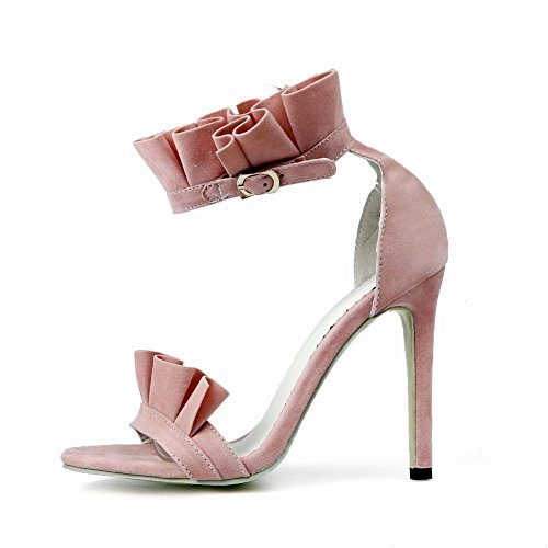 Carolbar Women's Sexy Lovely Lace Super High Heel Buckle Sandals Pink ph0lpiiaxT