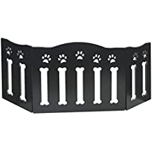 """Etna Wooden Paws and Bones Pet Dog Gate - Free Standing Tri-Fold - 19"""" Tall 47"""" Wide"""