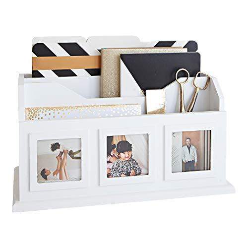 (Blu Monaco White Desktop Mail Organizer – Bill Organizer – Multiple Picture Frames – 2 Tier – 3 Picture Slots – Wooden Desk Organizer)