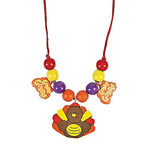 Fun Express Wooden Turkey Beaded Necklace Thanksgiving Craft kit-Makes 12