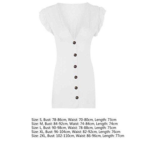 V Las de Mangas Mujeres Muchacha de Color Ocasional Mini Providethebest poliéster S vestidoblanco del con Cuello Vestido sólido sin botón en Partido pwqvXxXzI