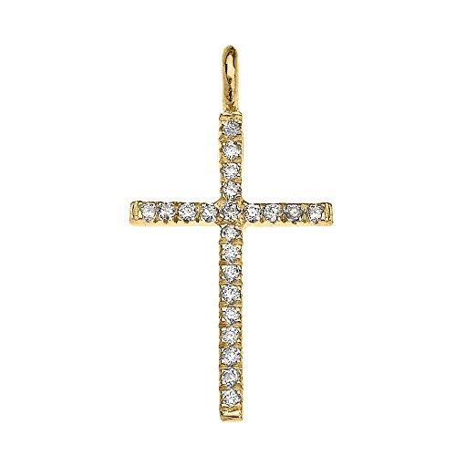 Collier Femme Pendentif 10 Ct Or Jaune Diamant Fine Croix (Livré avec une 45cm Chaîne)