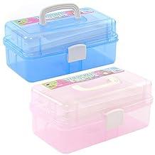 Elisona-Plastic Multi-purpose Portable Handled 3-Layer Empty Makeup Storage Box Case Organizer