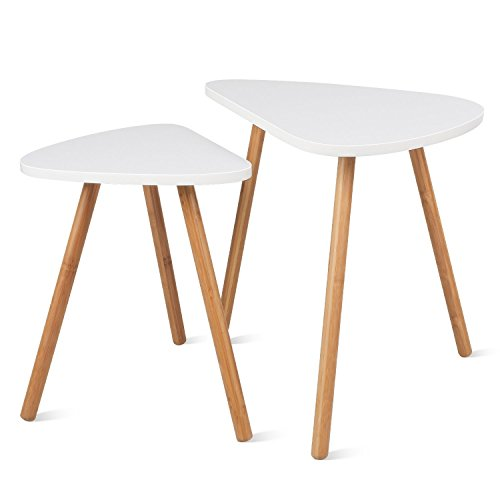HOMFA Nesting Coffee End Tables Modern Decor Side Table for Home and Office ( White, Set of 2 )
