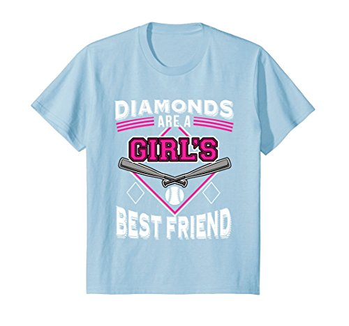 Kids Funny Softball t-shirt - DIAMONDS ARE A GIRL'S BEST FRIEND 12 Baby Blue