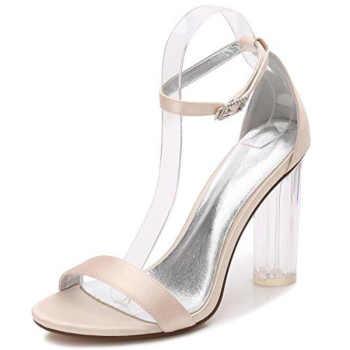 Peep Talon Chaussures F2615 Champagne Satin 9 Avec De Party Mariage Pompes yc Cristal Danse Toe L Prom Femmes Bas vqZPPp