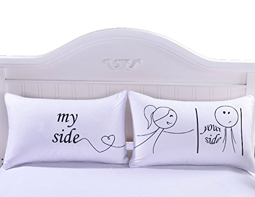Sleepwish Her and His Side Pillow Case Covers Romantic Valentine's Gift for Him or Her Super Soft Throw Pillow Covers One Pair 36x20 inches