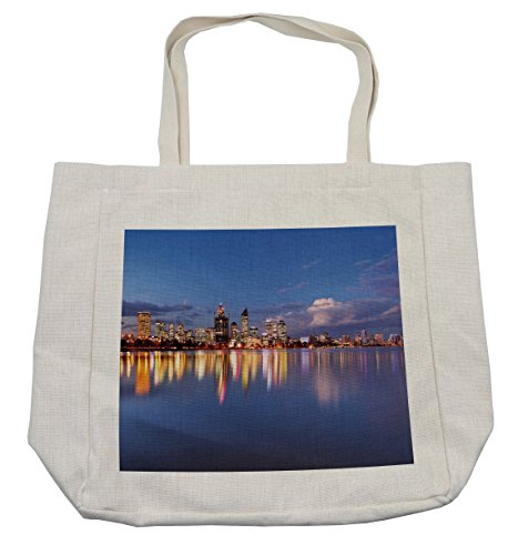 Lunarable Modern Shopping Bag, Skyline of Perth Western Australia at Night Dramatic Urban Swan River Scenery, Eco-Friendly Reusable Bag for Groceries Beach Travel School & More, -