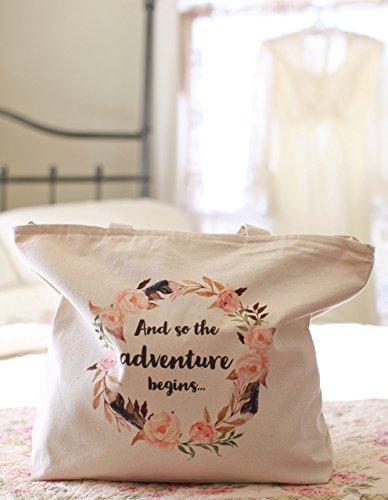 Wedding Tote - Bride Tote Bag - Bride to Be Bag - Bridesmaid Gifts - Bridesmaid Tote Bags - Large! Zipper Top, Interior Pocket, Handle, 100% Cotton - Bridal Bags - Bridal Totes - Bridal Party Totes