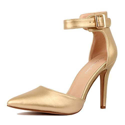 Guilty Heart Womens High Heel Sexy Stiletto Pointed Toe Ankle Buckle Dress Pumps, Gold PU, 7 B(M) US Sexy Gold Pu Women Shoes