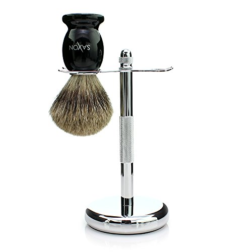 Saxon 100% Real Badger Hair Brush and Chrome Razor Stand Sha