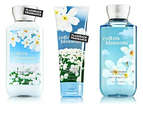 Bath & Body Works Cotton Blossom Body Cream, Shower Gel and Body Lotion Gift Set For Sale