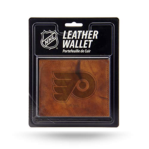 Rico NHL Philadelphia Flyers Embossed Leather Billfold Wallet with Man Made Interior ()