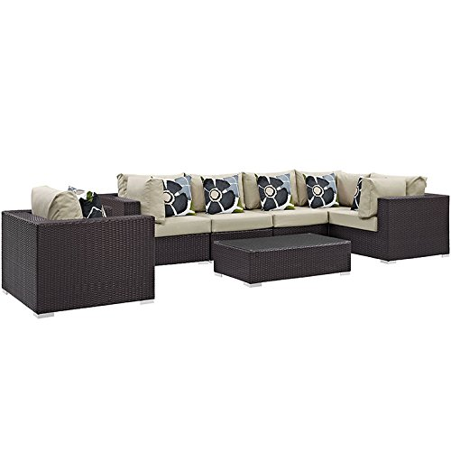 Convene 7 Piece Outdoor Patio Sectional Set -  Modway, EEI-2350-EXP-BEI-SET
