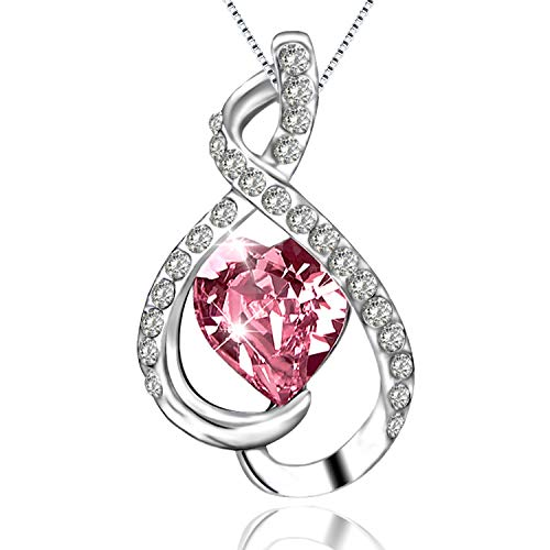 ASHE Pink Mother's Day Necklace Pendants Jewelry for Women Girls Mom Christmas Birthday Valentines Day from - Pink Jewelry Crystal