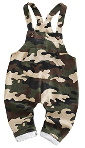 Kids Baby Boys Girls Casual Camouflage Suspenders Jumpsuits Piece Pants Overalls