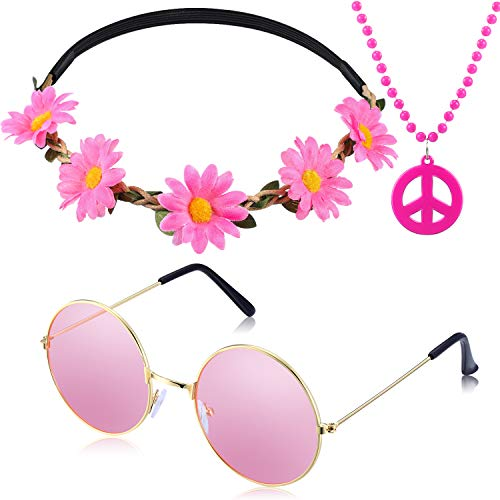 3 Pieces Hippie Accessory Set includes Peace Sign Bead Necklace, Flower Crown Headband, Hippie Sunglasses Party Costume for Women Men -