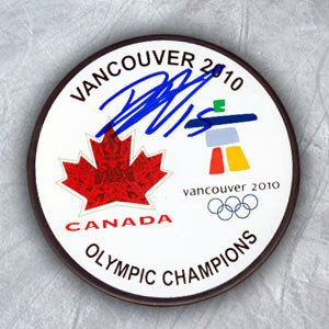 Dany Heatley Team Canada Autographed Olympic Gold Medal Puck - Signed Hockey Pucks