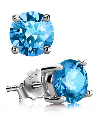 (UHIBROS Sterling Silver Birthstone Stud Earrings Round Cubic Zirconia Diamond December)