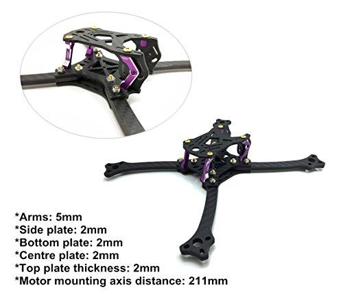 211mm FPV Frame Racing Quadcopter Kit Carbon Fiber Forerake X Arm Frame Kit by Crazepony (Forerake Frame Kit) by Crazepony (Image #3)