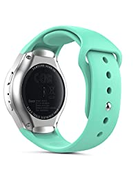 Gear S2 Watch Band (S2 SM-R720 / SM-R730 ONLY), MoKo Soft Silicone Replacement Sport Band for Samsung Gear S2 Smart Watch, NOT FIT S2 Classic (SM-R732 & SM-R735), NOT FIT Gear Fit2 Watch, Mint GREEN