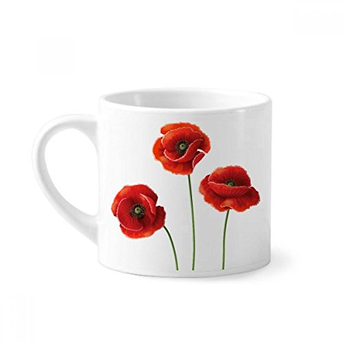 Art Painting Corn Poppy Red Flowers Mini Coffee Mug White Pottery Ceramic Cup With Handle 6oz Gift ()