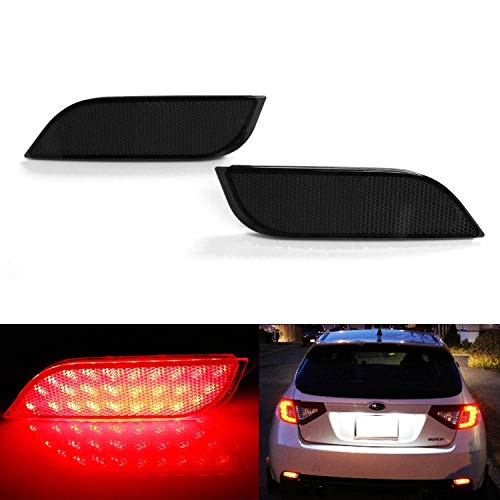 iJDMTOY Smoked Lens 26-SMD LED Bumper Reflector Lights for Subaru 2008-14 WRX/STI, 08-up Impreza, 13-up XV Crosstrek, Function as Rear Fog, Tail/Brake Lamps ()