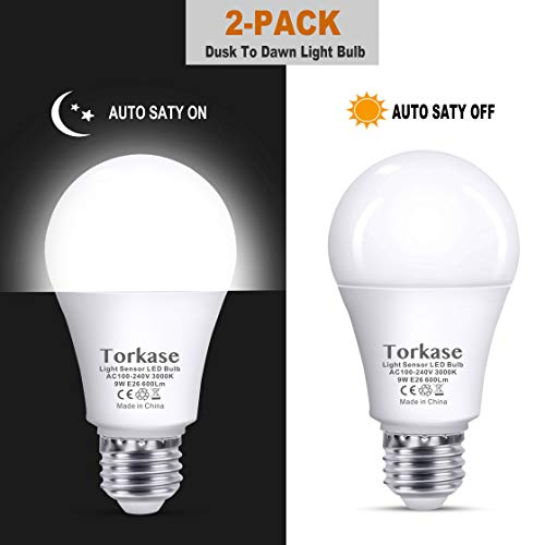 Torkase Dusk to Dawn Sensor LED Light Bulb, Outdoor Automatic On/Off, 3000K Soft White, 9W(60W Equivalent), A19 E26 Medium Screw Base, 2-Pack (Difference Between Soft White And Daylight Bulbs)