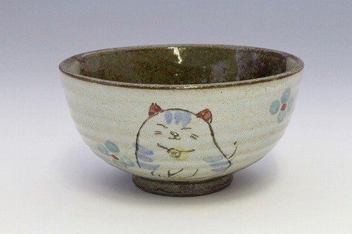 Blue Flower Cats 47644 Matsumoto Pottery Japanese Ceramic Rice Bowl
