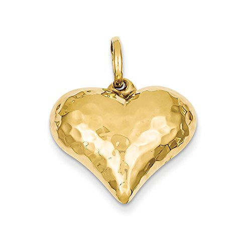Hammered Puffed Charm Heart (14k Yellow Gold Hollow Hammered Puffed Heart Charm or Pendant, 22mm)