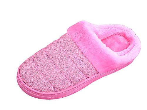 ICEGREY Damen Mode Strickte Warme Hausschuhe Gemütliche Plüsch Fleece Gefüttert Slip auf Wärmehausschuhe Plüsch Pantoffeln Wassermelonenrot 38 39