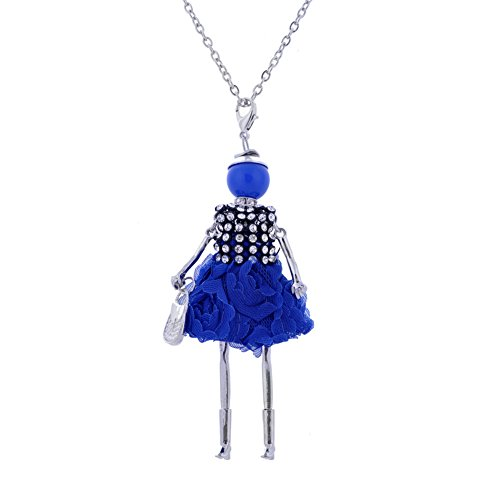 LUREME Handmade Doll with Handbag Necklace Dress Pendant Long Chain Lovely Design-Dk Blue (nl005750-3)