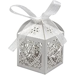 KEIVA 70 Pack Love Heart Laser Cut Wedding Party Favor Box Candy Bag Chocolate Gift Boxes Bridal Birthday Shower Bomboniere with Ribbons (White)