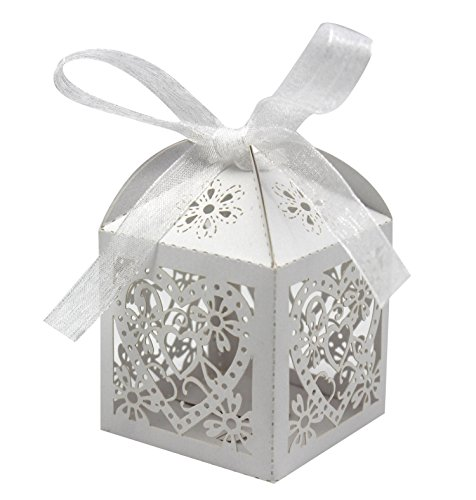 KEIVA 70 Pack Love Heart Laser Cut Wedding Party Favor Box Candy Bag Chocolate Gift Boxes Bridal Birthday Shower Bomboniere with Ribbons (White, -