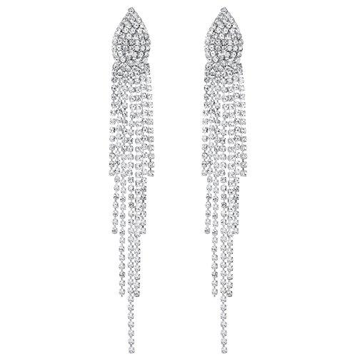 mecresh Bridal SilverCrystal Tassel Wedding Earrings for women by mecresh