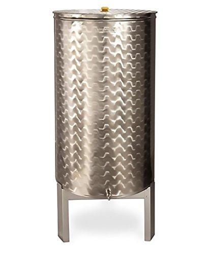 Mistermoby Serbatoio Contenitore in Acciaio Inox 100 Litri Olio Vino Birra con Coperchio e Rubinetto