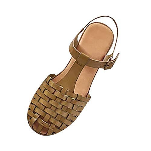 Women Fashion Woven Sandals Closed Toe T Strap Slingback Vintage Ankle Strap Buckle Flat Sandals by Lowprofile Green (Sneakers Gold Huarache)