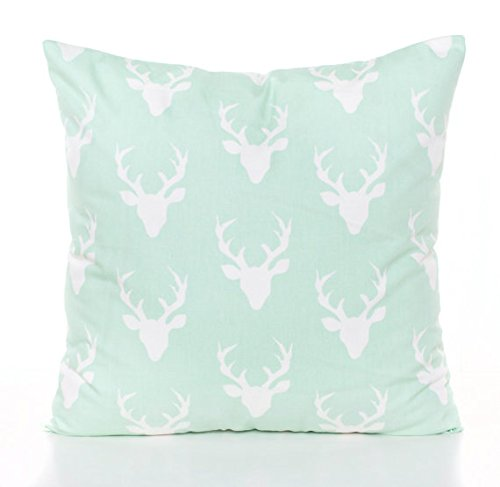 BebeChicCanada * Superior Quality 100% Cotton * Stag*Deer*Buck Head Cushion*Pillow Cover - 45 x 45 cm - 18 x 18 inches - Mint Green and White