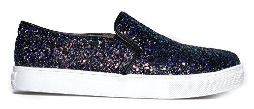 J. Adams Rund Tå Slip På Sneaker - Bedårande Vadde Glitter Sko - Lätt Vardagliga Mode - Strimma Av Svart Glitter